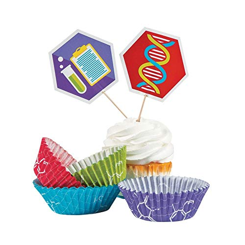 Fun Express Science Party Cupcake Liners with Picks Pack of 50 ()