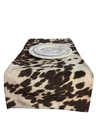 luvfabrics Velvet Chocolate Brown Cow Print Table Topper Runner, Table Linen, Elegant Home Table Decor, Party Supplies, (12