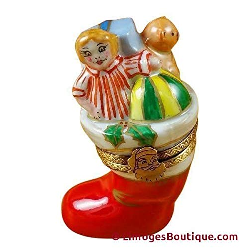 Christmas Boot - French Limoges Boxes - Porcelain Figurines Collectible Gifts