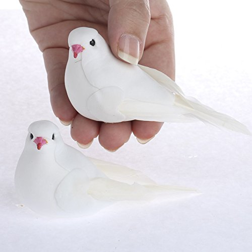 Factory Direct Craft Group of 12 White Sweet Artificial Mushroom Dove Birds