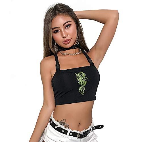 (Women Chinese Dragon Snake Printed Cropped Sexy Black Backless Strap Crop Tops (Green 2, M))
