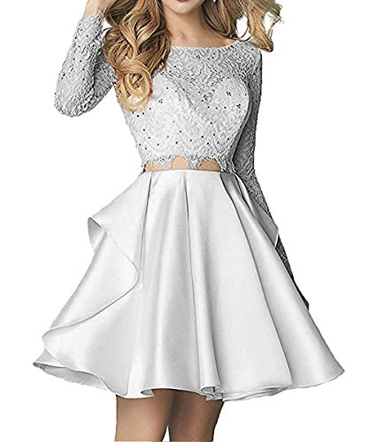 2018 Pieces Prom Long Sleeve Two Silver Women's Dresses Homecoming Ellenhouse Short fqn7w54xP