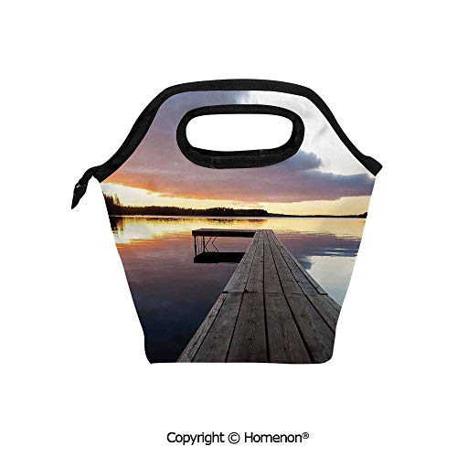 Insulated Neoprene Soft Lunch Bag Tote Handbag lunchbox,3d prited with View of Sunset over an Old Oak Deck Pier and Calm Water of the Lake Horizon Serenity,For School work Office Kids Lunch Box & Food