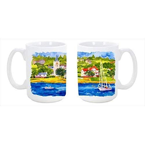 CoolCookware Harbour Scene with Sailboat Dishwasher Safe Microwavable Ceramic Coffee Mug from Cocobeen