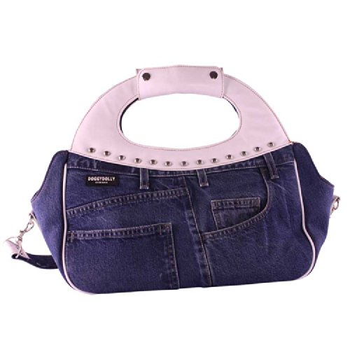 Doggydolly Dog carrier jeans with white 19x40x38cm