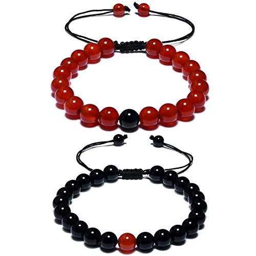 CAT EYE JEWELS Long Distance Matching Couple Friendship Bracelets 8mm Healing Beads ()