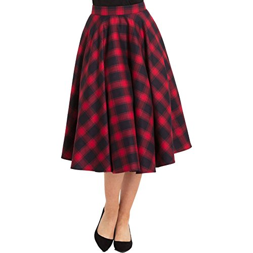 Voodoo Vixen May Plaid Full Circle Skirt Red XL -