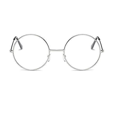 9a670e2350467f YUNCAT Rétro Rondes Metalique Cadre Frame Lunettes Vintage Verres  Transparent Style Aviateur Pilote Eyeglasses pour Homme