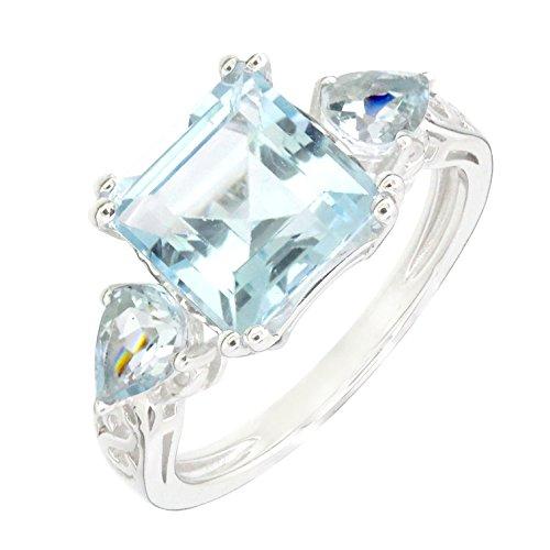 (Art Deco Sterling Silver Square Emerald Cut Blue Topaz & Aquamarine Heart & Love Ring (5.7 C.T.T.W))