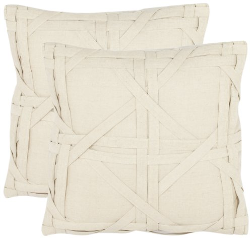 Pair of Beige Cotton and Linen Pillows with Woven Detail