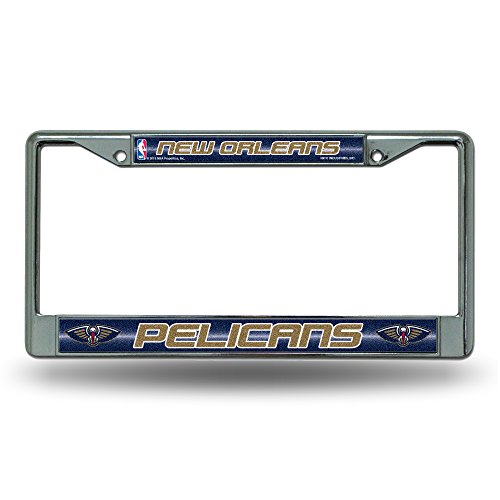 - NBA New Orleans Pelicans Bling Chrome License Plate Frame with Glitter Accent