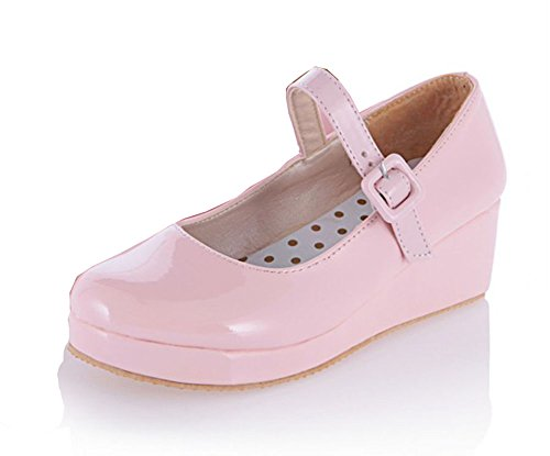 Aisun Women's Cute Candy Colour Platform Wedge Mary Jane Shoes Pumps Pink d5zWgvyJax
