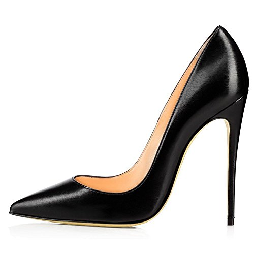 Kmeioo High Heels, Women's Pointed Toe High Heel Slip On Stiletto Pumps Evening Party Basic Shoes Plus Size-Black-PU 8.5 M US Black Womens Stiletto