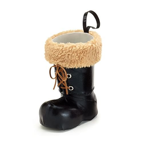 Christmas Black Santa Boot Vase/Stocking/Gift Holder With Leather Laces and Fur Cuffed (Small) -