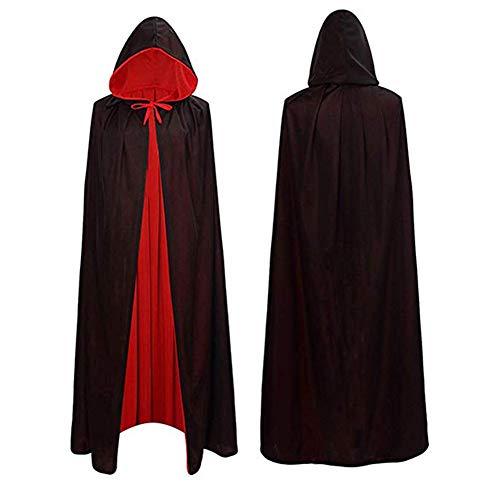 Lulu Home Halloween Vampire Cloak, Velvet Reversible Hooded Vampire Cape for Halloween Adult Cosplay Black and Red