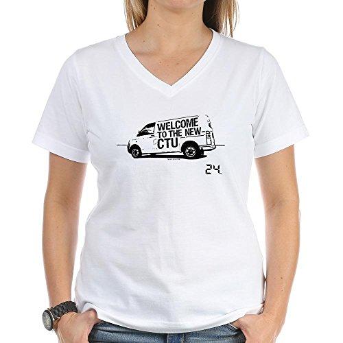 CafePress - 24 CTU Van - Womens Cotton V-Neck T-Shirt White ()