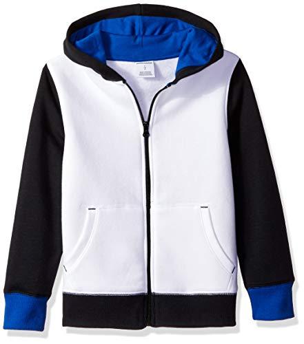 Amazon Essentials Big Boys' Fleece Zip-up Hoodie, White Color Block, M