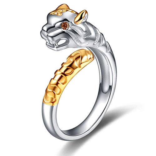 CNZONE Tiger Ring Sterling Silver Gifts for Women Gold Crystal Cuff Adjustable Chinese Zodiac Jewelry
