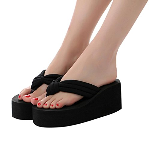 Thong Platform Shoes - Fheaven Womens Middle High Platform Sandals Wedge Flip Flops Thongs Slipper (US:8.5, Black)