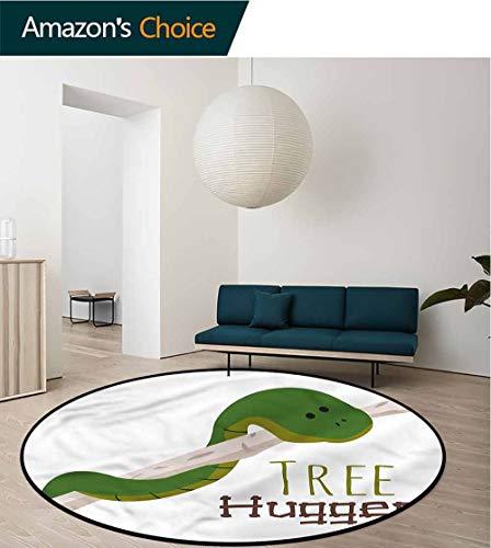 (RUGSMAT Reptile Modern Flannel Microfiber Non-Slip Machine Round Area Rug,Cartoon Snake Mascot Love Lifts Basket Swivel Chair Pad Coffee Table Rug Diameter-35)