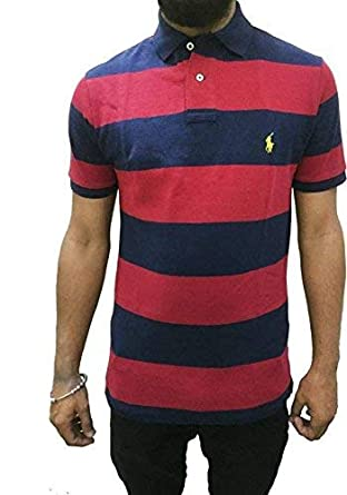 Polo Ralph Lauren Men s Custom Fit Half Sleeve Mesh Polo T-Shirt French Navy  ( e8a77b9f6