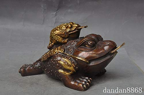 Statues & Sculptures - Crafts Statue Chinese Bronze Gilt Fengshui Wealth Money Coin Golden Toad Bufo Frog Statue Halloween - by GTIN - 1 Pcs - Meditating Frog Garden Statue ()