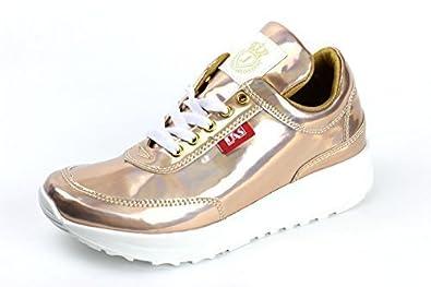 Damen Mode Komfort Schnürer Turnschuhe Flache Schuhe Sneakers Fitnessstudio Fitness Pumps - grau/pink, EU 37