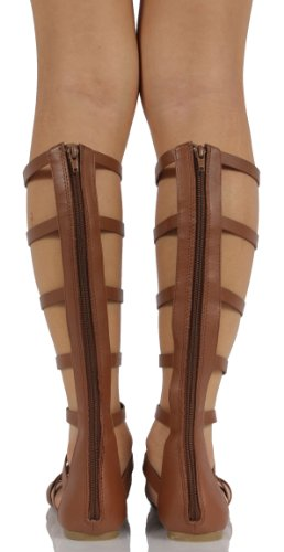 Sandals Faux Knee 55 High Tan Dark M Soda Cut US Out Women's Gladiator Bappy Leather qR7CE4xwz