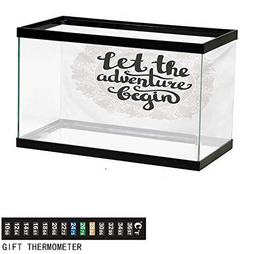 wwwhsl Aquarium Background,Adventure,Mandala Inspired Round Motif with Motivational Phrase Hipster Vintage,Pale Grey Black White Fish Tank Backdrop 48