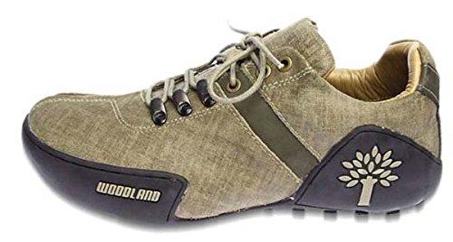 Khaki Leather Espadrille Flats