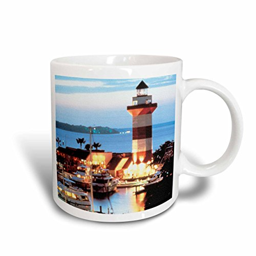 3dRose mug_61725_1 Harbor Town Lighthouse at Hilton Head Island at Dusk Ceramic Mug, 11 oz, - Head Outlets Hilton