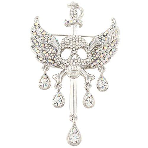 EVER FAITH Austrian Crystal Halloween Skull Bone Angle Wing Teardrop Brooch Pendant Clear Silver-Tone