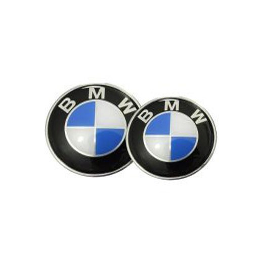 2pcs Runden Round Car Auto Blue White 82mm Front Hood & 73mm Back Trunk Round Compatible Replacement Emblem Logo Badge Fast Ship For (BMW)