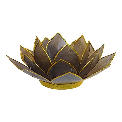 The Crabby Nook Lotus Tea Light Candle Holder Capiz Shell Decorating Accent Home Decor Gift Ideas, Black/Dark Gray
