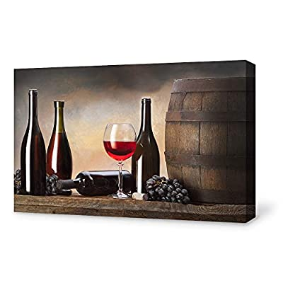 Canvas Wall Art for Living Room,Bedroom Home Artwork Paintings Red Wine Ready to Hang - 12x18 inches