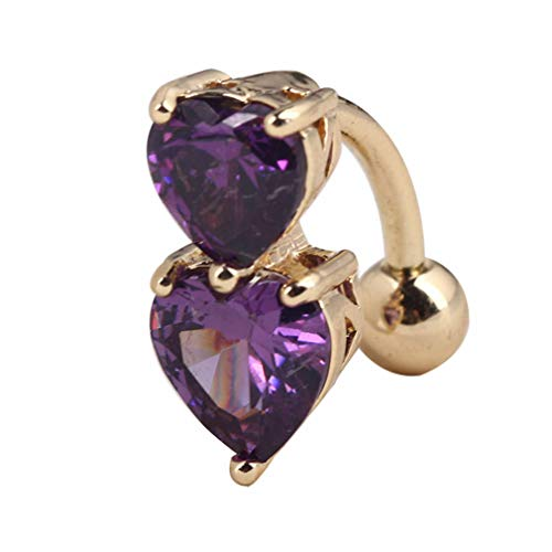 (ERAWAN Reverse Crystal Bar Belly Ring Gold Body Piercing Button Navel Two Heart New EW sakcharn (Purple))