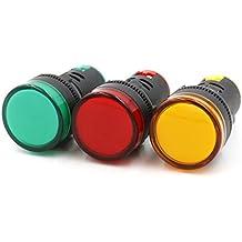 Baomain AD16-22D/S31 AC220V 20mA Energy Saving LED Indicator Light Green Yellow Red 3Pcs