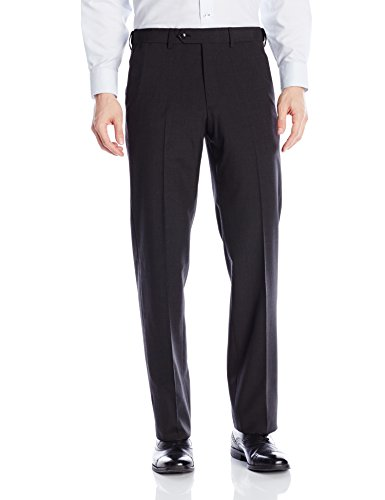 Tailored Worsted Wool Suit - Palm Beach Men's Expander Plain Dress Pant, Charcoal, 44W Regular