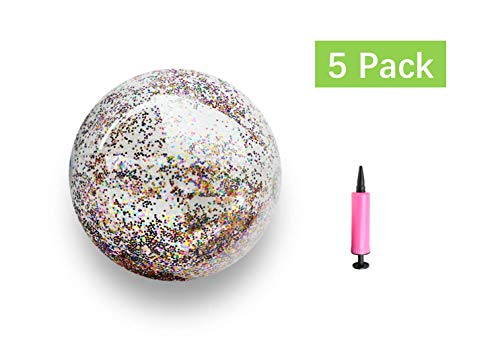 Waloden 5 Pieces Glitter Beach Ball Sequin Inflatable Ball Inflated Pool Ball for Summer Water Party 16 Inch -