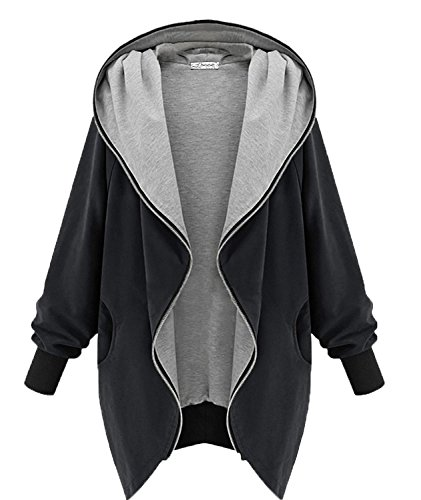 Minetom Damen Frauen Hoodie Kapuzen Parka Herbst Frauen Oversize Parka Hooded Zipper Jacke Cardigan Blazer Mantel Outwear Schwarz Grün (Schwarz Größe EU XL)