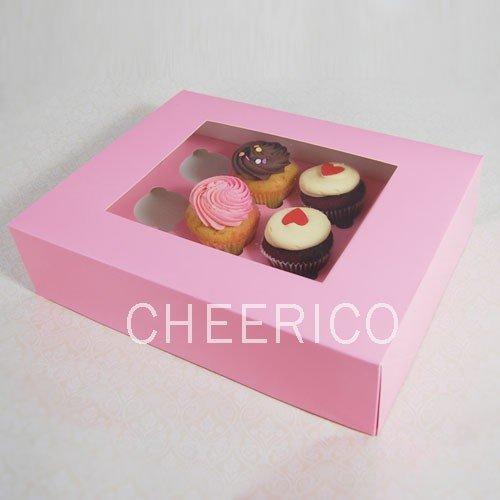 25 Pink Boxes of Window Cupcake Box with 12 Cupcake Holder($2.3 Per Set/per Box)