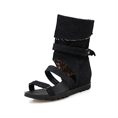 AgooLar Women's Pull On Low Heels Fabric Solid Open Toe Sandals Black YUFSOK4C0