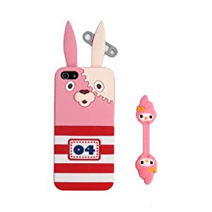 Euclid+ - Pink Usavich Style Silicone Soft Case Cover for Apple iPhone 5 5s 5th 5g 5Generation with Melody Cable Tie