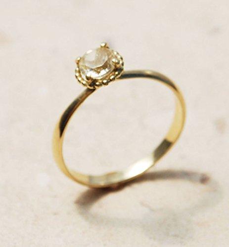 (14K Yellow Gold 5 mm Lemon Quartz Classic Elegant Romantic meaningful Engagememt Wedding promise Ring For Her Women)