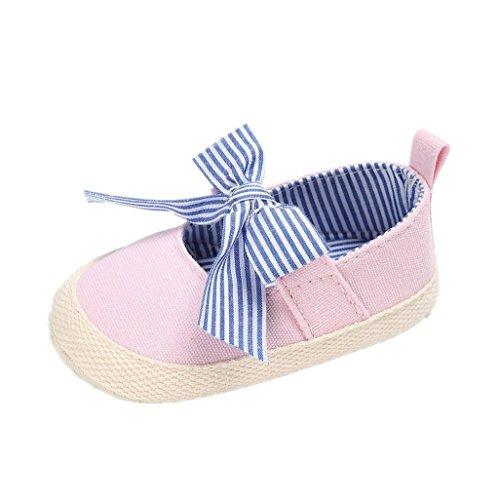 Zapatos de bebé Auxma Zapatos antideslizantes del Bowknot de la lona de la niña Zapatos que caminan de la suela suave primero Por 3-18 meses Rosado