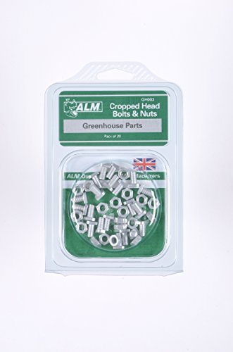 Cropped Head Bolts & Nuts Pack of 20 Aluminium bolts with a cropped head to slot into the glazing bars of aluminium greenhouses to fix shelves, staging etc. Suitable for most aluminium greenhouses