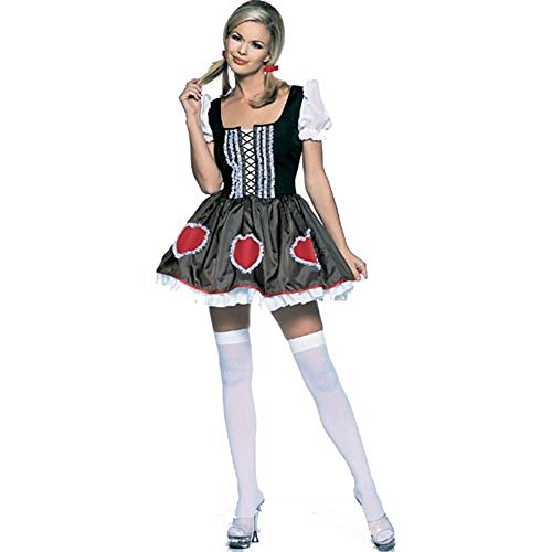 Heidi-Ho Dress With Hearts Halloween Costume (SMALL, Brown) -