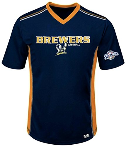 VF Milwaukee Brewers MLB Mens Cool Base Performance V Neck Jersey Navy Blue Big Sizes (3XL) ()