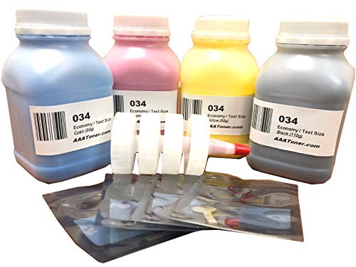 AAA Toner Refill Kit for Canon 034, Canon MF820Cdn MF810Cdn, C1225 if Test Size and 4 Reset Chips (Black, Cyan, Magenta, Yellow, 4-Pack) ()