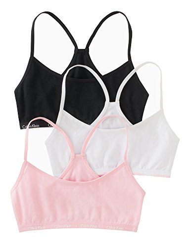 (Calvin Klein Big Girls' 3 Pack Racerback Crop Bra, Pink/Black, Medium)